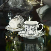 100CC Elegant Fine New Bone China Plain White Coffee Cups and Saucers of Nocturne