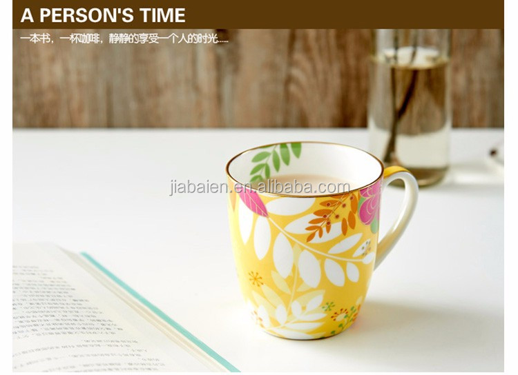 Wholesale 300ml fine bone china color mugs with high quality