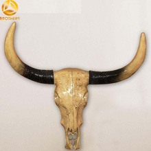 Natural Resin Ox Head With Glazed Horns Wall Hanging