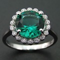Hot Sale Fashion Green Spinel Ring with 925 Sterling Silver Zircon Jewelry
