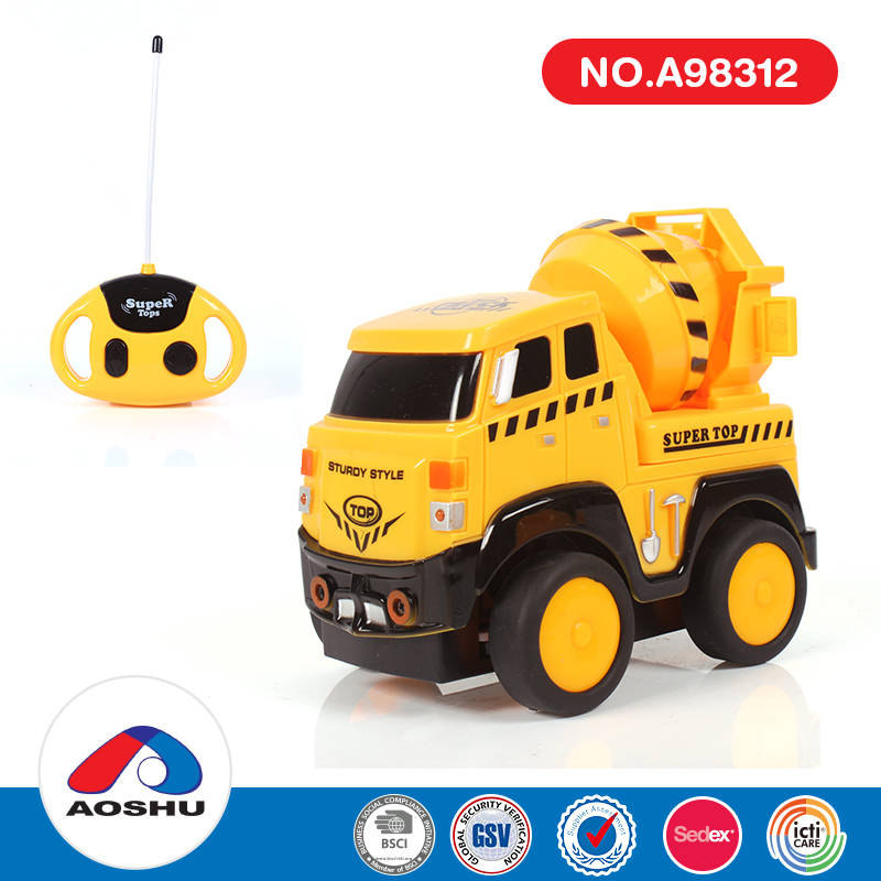 Cartoon honking sounds kids car toy cement 4ch rc dump truck wit light