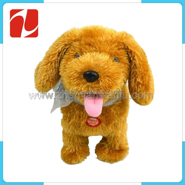 Funny cute brown stuffed plush dog animal toy for kids gift