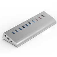 Aluminum Case 7 Ports USB 3.0 Hub and 3 Ports USB Quick Charger For Smart Phone