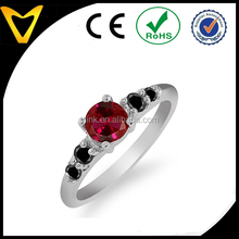 0.78 Ct Round Red Created Ruby and Black Diamond 925 Sterling Silver wedding ring
