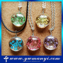Dried flowers in glass ball alloy chain latest design necklace PF001