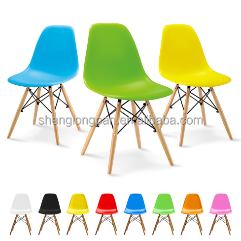 Modern simple plastic dining chair with arm metal/ solid wooden