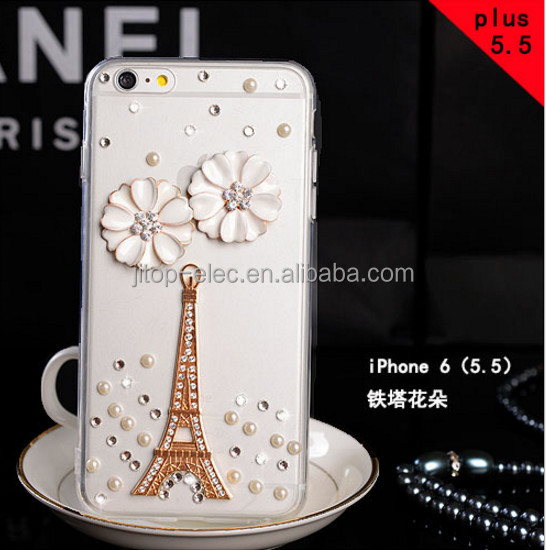Electronic design with dimond flower bling chic soft TPU phone case cover for Huawei P8 case