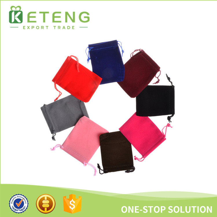 Multicolor plain fabric velvet drawstring bag