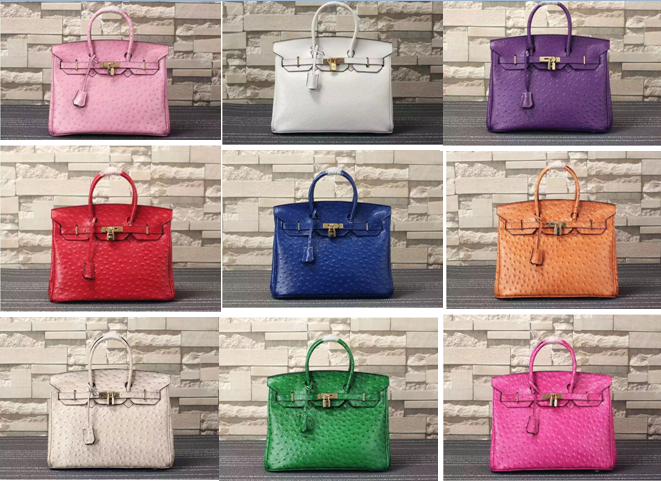 Manufacurer OEM made 35cm high quality women ostrich grain cow leather <strong>handbags</strong> L-RB4-5B free shipping