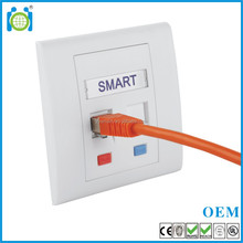 "rj45 2 ports wall plate 86*86mm network Flat Shuttered FacePlate RJ11 with ""data"" ""phone"" label telephone"