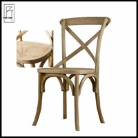 Provincial cross back dining chair cane seat chair