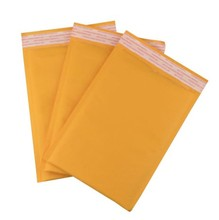 Yellow / Gold Protective Mailing Bubble Envelopes, Kraft Bubble Mailers 4x8 Inch