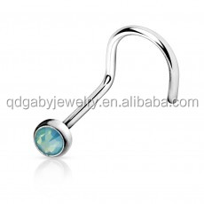 Faux Opal Left nostril 316L surgical steel nose piercing rings vibrating Body Jewelry