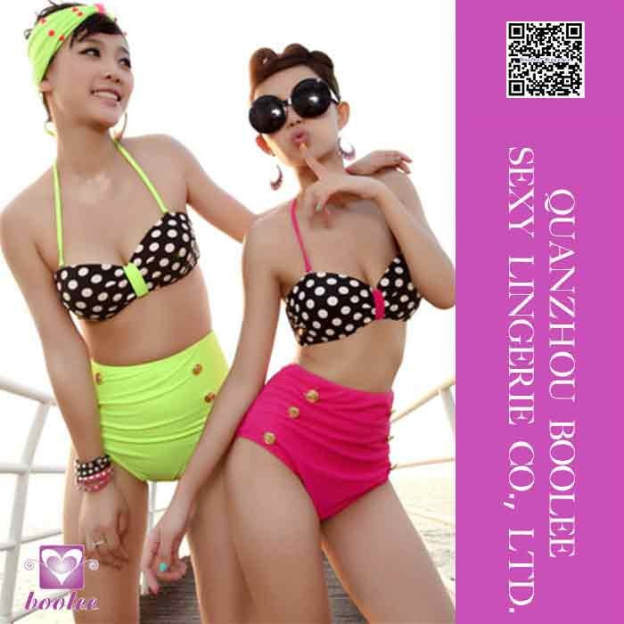 2015 Polka Dots Digital Print Halter Sexy Women Retro High Waist Bikini