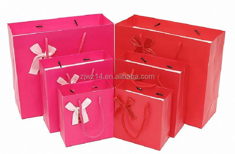 2015 fashion paper compost bags/ customize paper bag/ white shopping paper bag with pink ribbon