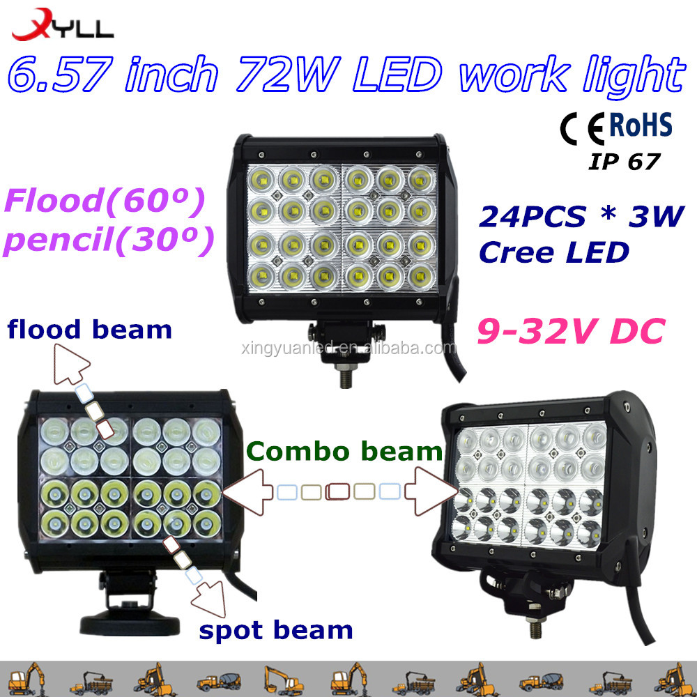 Cheap price 72W led work light bar 4X4 offroad , truck ,led work light semi truck led light bar