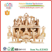 EZ1021 OEM Kindergarten 348pcs Natural Rubber Wood Unit Blocks