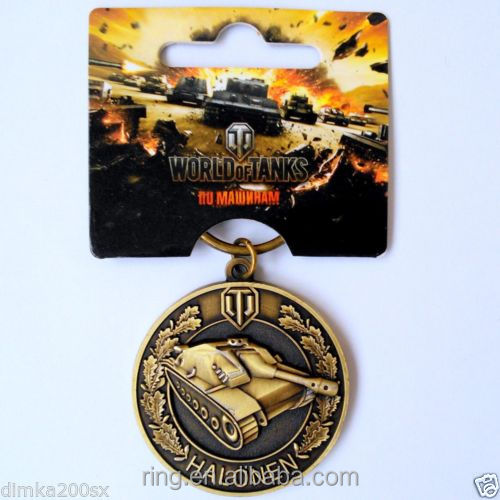 2016 Fashion Online Game World of Tanks WOT Metal Keychain Pendent For Men's Key Chain Key Ring Gift