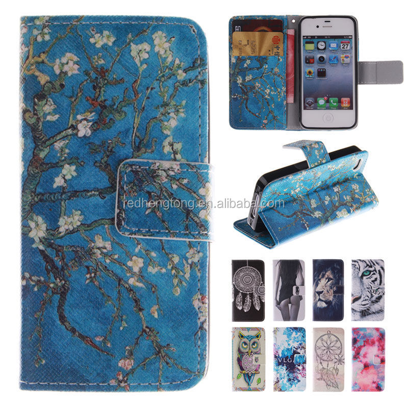 Wholesale Printed Wallet Leather Case Mobile Phone Flip Cover for iPhone 4
