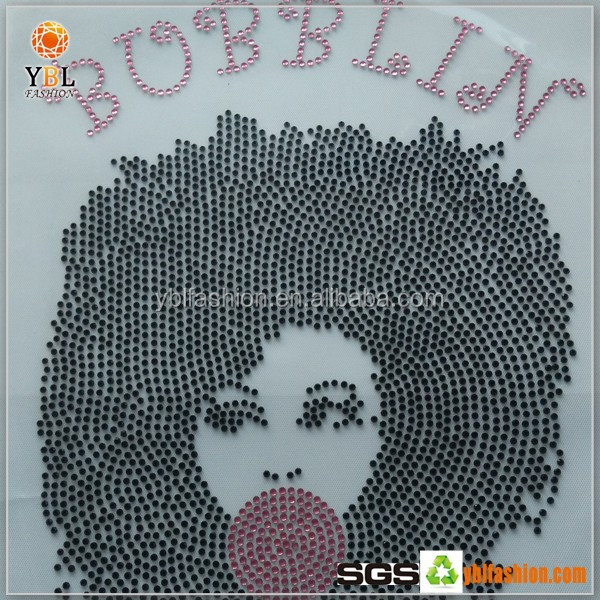 Custom Suga Designs Heat Transfer Rhinestone Afro Girl Trim