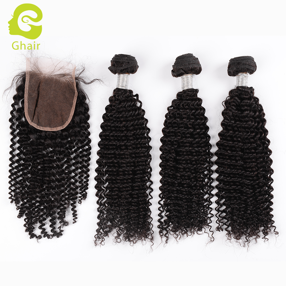 Free shipping Color 1B# Peruvian Human Hair Bundles With Lace Closure