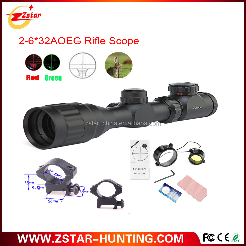 Good quality 2- 4times 5levels red and green laser waterproof fog proof rifle scope