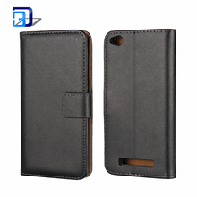New Mobile Phone Genuine Leather Wallet Flip Case Black with Tan Interior Slim Cover Holder For Xiaomi Redmi 4A