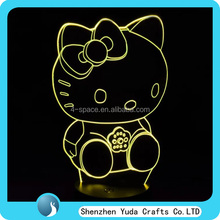 Unique 3D Engraved Clear Acrylic LED Night Light Lamp night table light 3d illusion hello kitty night light for child room