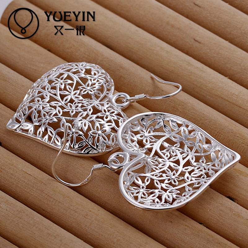2014 SGS Certified heart 925 silver filigree earring