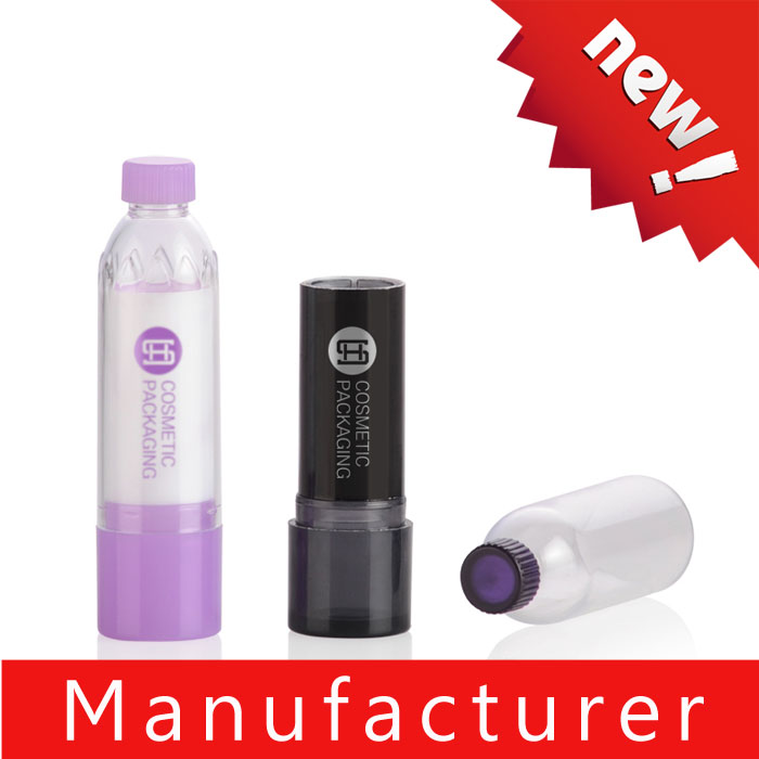 Unique mineral water bottle shaped plastic lip balm packaging / bottle / case / container