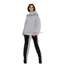 Pretty steps 2015 silver high collar long knit pullover sweater winter with sexy lace fow women