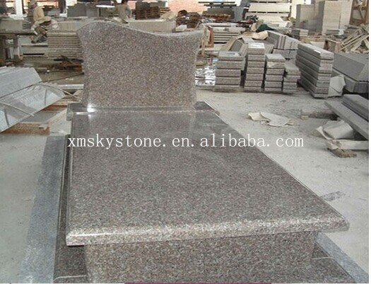 European style polished cheap granite cemetery bench monument