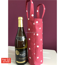 Wholesale promotional red color 100% cotton bottle bag recycled Single Wine Tote with custom design printed