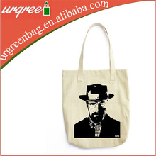 Beige Breaking Bad Cotton Shopping Tote bag With TV Show Printing