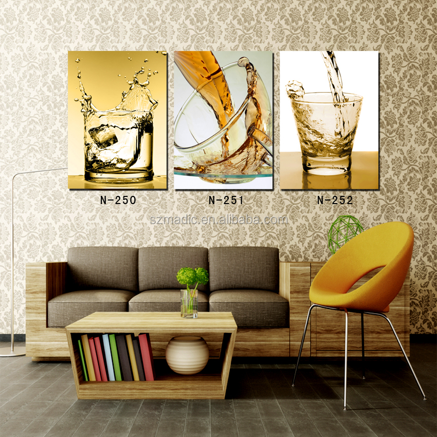 New Design Canvas Painting 3 Panel Cheap Modern Prints Wine and Glass Wall Art for Home Decor