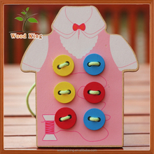 Dress Up The Buttons Fine Action Toy Children'S Puzzle Hand Cheap Baby Wooden Wholesale Kids Toys