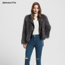 Women Winter Coat Real Fox Fur Genuine Leather Jacket Fashion Outerwear New Design