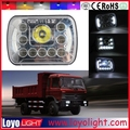 Hottest!!! Square 7inch led truck headlight with angel eyes 5x7 45W led 24 volt truck lights