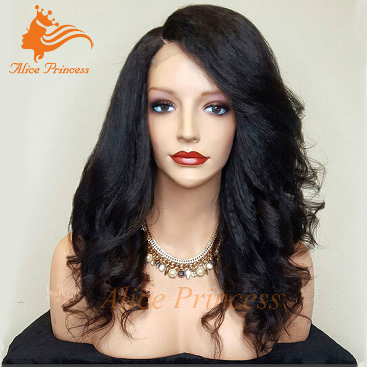 7A Italian Yaki Body Wave Glueless Aliexpress Hair Full Lace Human Hair Wigs For Black Women Brazilian Hair Yaki Wavy Style