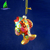 Unique Design Special Custom Hand Painted Gold Fish Shape Glass Christmas Hanging Ornament
