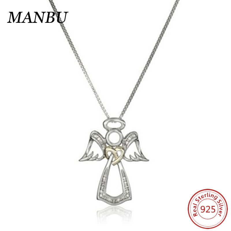 925 Sterling Silver and 14k Yellow Gold Angel Pendant Necklace
