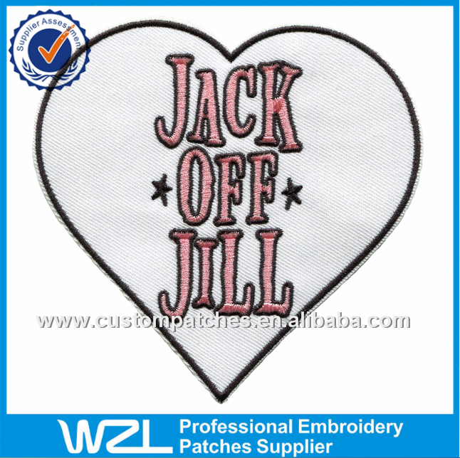 FREE SAMPLE EMBROIDERY PATCHES, HEART SHAPE LETTERS EMBROIDERED PATCHES