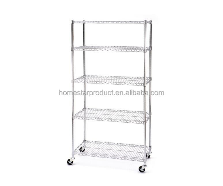 Seville Classics UltraZinc 5-Shelf NSF Wire Shelving Rack with Wheels, Chrome
