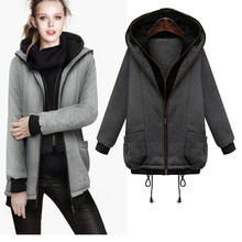 WA9276 thick plush hooded fleece pure color double zipper hoody long-sleeved jacket coat for women