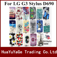High Quality Painting Flower PU Leather Stand Flip colored drawing Case INSERT CARD Cover For LG G3 Stylus D690
