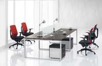 MDF office working table, office desks partition workstation, wooden MDF frame and metal base