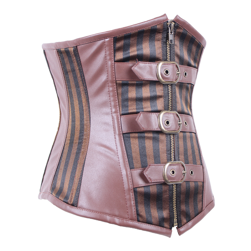 Brown Steampunk Clothing Women Plus Size Corset Top Striped Buckle Gothic Steel Bone Corset Underbust Bustier Sexy Waist Cincher