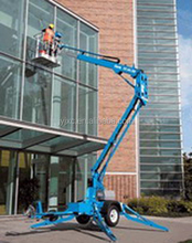 Skyscraping Tower compact manual mobile gasoline engine self-propelled towing boom lift for aerial work