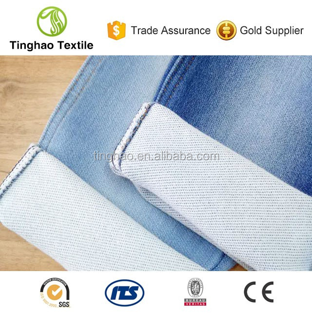 Best selling knitted cotton blended rib denim jeans fabric