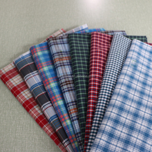 high quality stocklot yarn dyed cotton white ground check fabric
